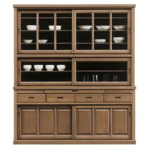《開梱設置無料》木目の美しいタモ材を使用した食器棚です。引き出しの上にはカウンターになる収納スペース...
