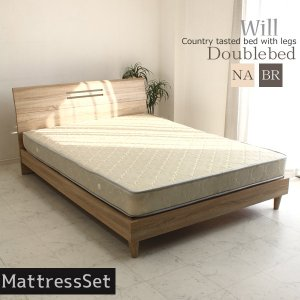 ベッド ダブルベッド マットレス付き 格安 安い 木製 ダメージ加工 カントリー 北欧 セットの写真