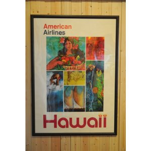 アメリカンエアライントラベルポスターハワイ1970年代|kahinetshop