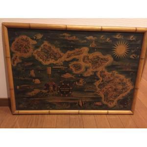ドール ハワイアンアイランドマップフレーム1950年代|kahinetshop