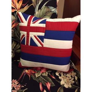 ハワイ州旗クッション 貴重!ハワイアンキルト手縫い ハワイアン家具 ハワイインテリア|kahinetshop