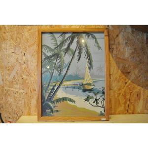 ハワイアンアンティーク ハワイ絵画 パームツリーボート 絵画 ハワイアンビンテージハワイアン雑貨|kahinetshop