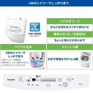 東芝 全自動洗濯機 4.5kg AW-45M5-W 在庫わずか|kahoo