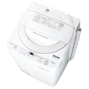 全自動洗濯機 6kg ES-GE6B-W シャープ ホワイト系 (1)|kahoo