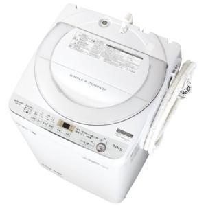全自動洗濯機 7kg シャープ ステンレス 穴なし槽 ES-GE7C-W ホワイト系 (1)|kahoo