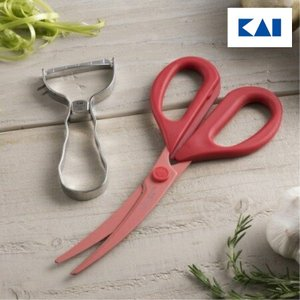 貝印   時短調理のお助けツールセット (カーブキッチンバサミ&T型ピーラー)