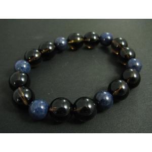 高級天然石使用 パワーストーン!メンズブレス☆スモーキークォーツ(茶水晶)12ミリ&サファイア10ミリ丸玉メンズブレスレット|kaicrystal