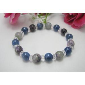 幻想的☆カイヤナイト&チャロアイト&キラキラ水晶デザインブレスレット|kaicrystal