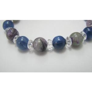 幻想的☆カイヤナイト&チャロアイト&キラキラ水晶デザインブレスレット|kaicrystal|02