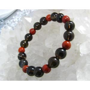 レッドジャスパー8ミリ&スモーキークォーツ(茶水晶)10ミリブレスレット|kaicrystal