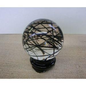 1点もの お宝 ブラックルチル(トルマリネーティッドクォーツ)丸玉|kaicrystal
