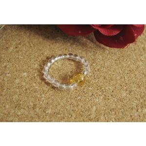 天然石リング 憧れ天然石1石入り シトリン(黄水晶)&水晶リング|kaicrystal