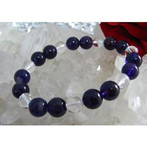 天然石☆パワーストーン☆メンズブレスレット☆アメジスト(紫水晶)10ミリ丸玉&水晶8ミリブレスレット|kaicrystal