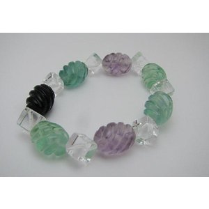 キュート&リーズナブル ツイストフローライト、サイコロ水晶デザインブレス|kaicrystal