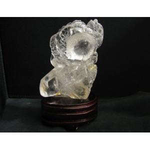 水晶(ロッククリスタル・クォーツ)格安 龍彫刻入り 置物 縁起物|kaicrystal