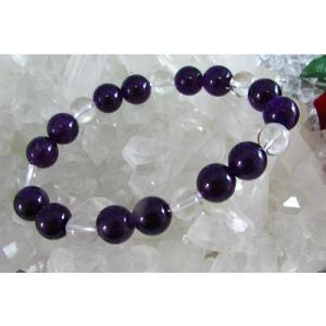 天然石☆パワーストーン☆メンズブレスレット☆アメジスト(紫水晶)12ミリ丸玉&水晶10ミリブレスレット|kaicrystal