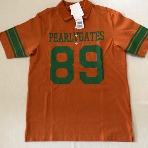 パーリーゲイツ コットン半袖ポロシャツ オレンジ サイズ5(Lサイズ 新品未使用品)|kaida-club