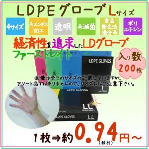 LDグローブ Lサイズ FR-872 LDPEグローブ 200枚×40小箱/ケース 送料無料|kaigo-eif