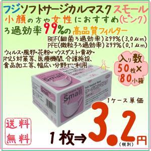 フジソフトサージカルマスクスモール ピンク 50枚×80小箱/ケース|kaigo-eif