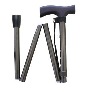 エコノミータイプ 伸縮折りたたみ杖 つや消しシルバー kaigo-scrio