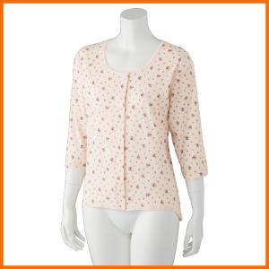 婦人花柄ワンタッチ7分袖シャツ M・Lサイズ 3枚セット 89272 介護肌着|kaigo-scrio