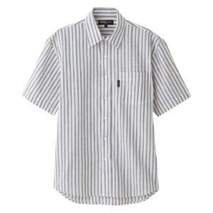 紳士麻混しじらスナップボタン半袖シャツ 89764|kaigo-scrio