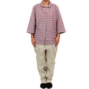介護 つなぎパジャマ 通年用 タッチホック式002 ギンガムチェック|kaigo-scrio