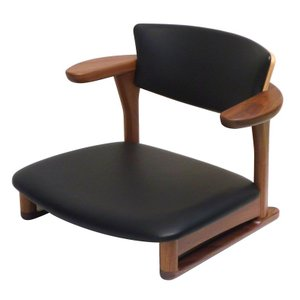 腰にやさしいイス Awaza(アワザ)LD 腰痛予防低座椅子 050W-L ウォールナット材 革張1 受注生産|kaigo-scrio