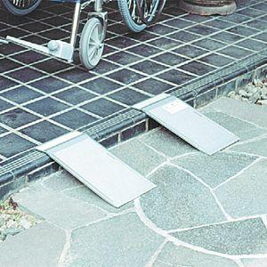 アルミ安心スロープ・渡し板 携帯用2枚組 適応段差高さ:約3〜10cm|kaigo-scrio