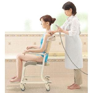 シャワーキャリー お風呂・入浴用車椅子 TOTO 水まわり用四輪キャスター車いす(ソフトシート)EWCS604AS|kaigo-scrio|05