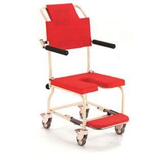 シャワーキャリー お風呂・入浴用車椅子 簡易シャワー車いす低床タイプ4輪キャスター KSC-1 穴あきシート kaigo-scrio 02
