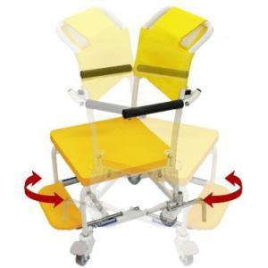 シャワーキャリー お風呂・入浴用車椅子 簡易シャワー車いす低床タイプ4輪キャスター KSC-1 穴あきシート kaigo-scrio 03