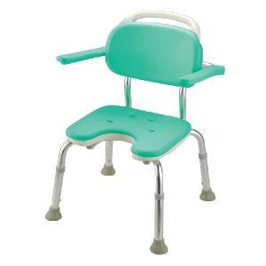 シャワーチェア やわらか座面 やわらかシャワーチェア U型 肘掛け背もたれ付コンパクト|kaigo-scrio