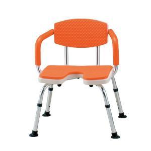 介護しやすい大きめのU字型座面タイプ シャワーベンチすま〜いる 肘掛け背もたれ付きU字型タイプ シャワーチェア|kaigo-scrio