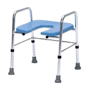 局部が洗いやすいU型座面 シャワーベンチ U字座面手すり付きアルミタイプ TY539B シャワーチェア シャワー椅子|kaigo-scrio