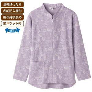 婦人 Tシャツ ロング ファスナー ジャカード シニア ファッション 服 高齢者 98046
