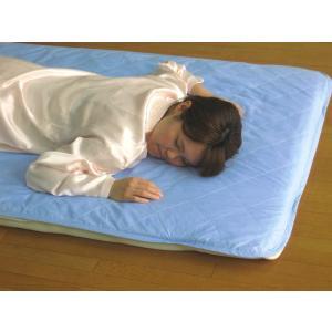 敷パッドシーツ シングル ブルー 綿100%側地 温度調節素材アウトラスト使用 日本製|kaiminclub