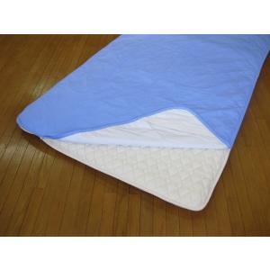 敷パッドシーツ シングル ブルー 綿100%側地 温度調節素材アウトラスト使用 日本製|kaiminclub|02
