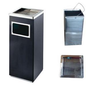 ゴミ箱付き灰皿 業務用ゴミ箱 屋外灰皿 スタンド灰皿 屋外用灰皿 業務用 送料無料 角型A-083B ブラック|kainetspg
