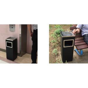 屋外灰皿 A-083B 角型 ブラック アッシュトレイ 業務用 灰皿 スタンド灰皿 ゴミ箱付き灰皿 送料無料|kainetspg|03