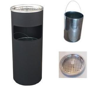 屋外灰皿 屋外 アッシュトレイ 業務用 灰皿 スタンド灰皿 送料無料 丸型 A-085B ブラック|kainetspg
