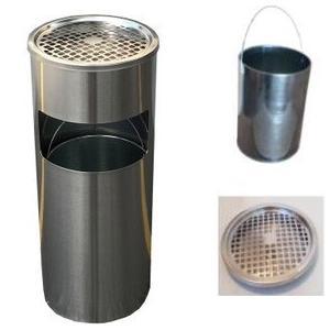 屋外 アッシュトレイ 業務用 灰皿 スタンド灰皿 屋外灰皿 送料無料 丸型 A-085H シルバー|kainetspg