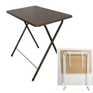 送料無料 折りたたみテーブル ミニテーブル 高さ70cm ブラウン・アイボリ- 折り畳み式テーブル サイドテーブル 補助テーブル トレーテーブル|kainetspg
