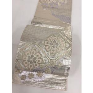 着物 優品 袋帯 金色 華文 雲文 波 金糸 銀糸 箔 六通 正絹  リサイクル バイセル PK50