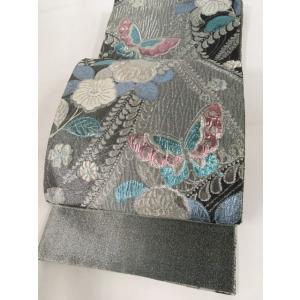 着物 名品 袋帯 黒灰 蝶 辻が花柄 箔 六通 正絹  リサイクル バイセル PK50