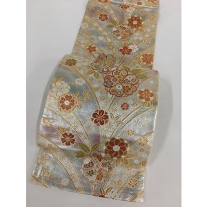 着物 名品 袋帯 銀色 桜 鬘帯 金糸 箔 六通 振袖向き 正絹  リサイクル バイセル PK30