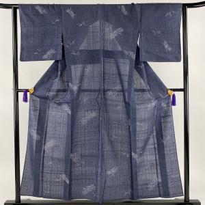 小紋 美品 秀品 紬地 枝 葉柄 青紫 単衣 身丈155.5cm 裄丈63cm S 正絹 【中古】|kaipre