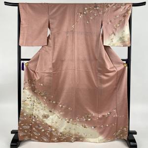 訪問着 美品 秀品 扇面 草花 刺繍 金糸 ピンク 袷 身丈170cm 裄丈66.5cm M 正絹 ...