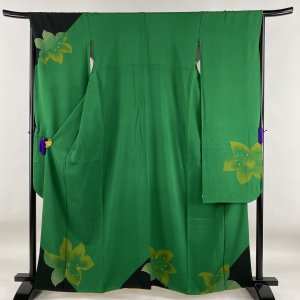 P15倍 振袖 美品 秀品 花柄 金彩 緑 袷 身丈161.5cm 裄丈66cm M 正絹 中古