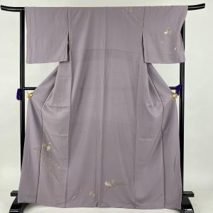 訪問着 美品 秀品 宝尽くし 亀甲 金糸 刺繍 薄紫 袷 身丈169cm 裄丈65.5cm M 正絹...